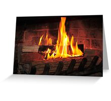 Burning fire at fireplace. Can be used as background. Greeting Card
