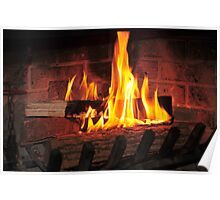Burning fire at fireplace. Can be used as background. Poster
