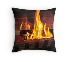 Burning fire at fireplace. Can be used as background. Throw Pillow
