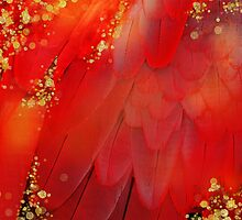 MidSummer Magik Fantasy abstract Red feathers, gold sparkles by Glimmersmith