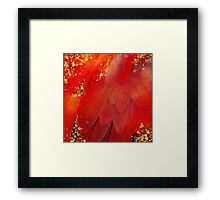MidSummer Magik Fantasy abstract Red feathers, gold sparkles Framed Print