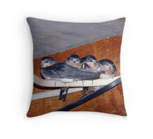 SWALLOWS ON THE WIRE Throw Pillow