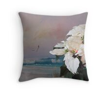 Pointsettas at the beach Throw Pillow