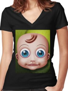 Baby Doll Head... Women's Fitted V-Neck T-Shirt