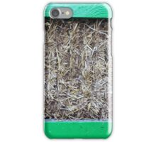 Hay in a green wooden container iPhone Case/Skin