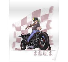 Rider...Lady and her Motorcycle Poster