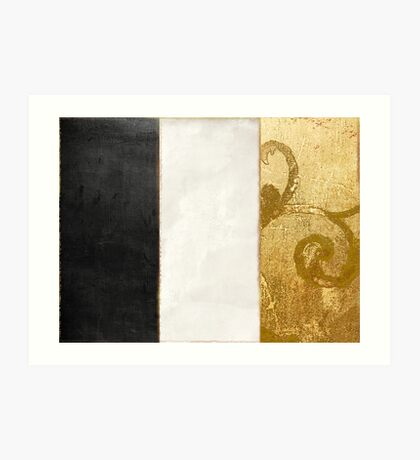 Fashion Gold and Black Flag France Art Print