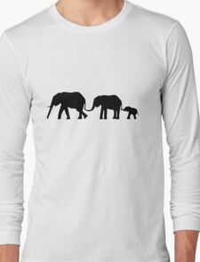 Silhouettes of 3 Elephants Holding Tails Long Sleeve T-Shirt