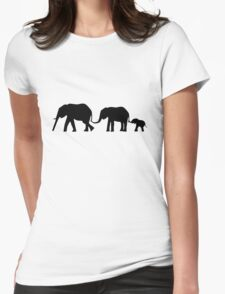 Silhouettes of 3 Elephants Holding Tails Womens Fitted T-Shirt