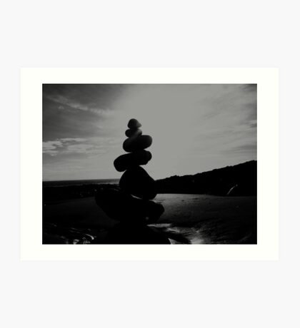Stacked Stones Sculpture on the Sand 02 Art Print