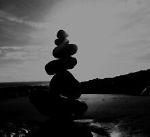 Stacked Stones Sculpture on the Sand 02 by Jamie Evans