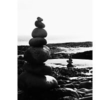 Stacked Stones Sculpture on the Sand 03 Photographic Print