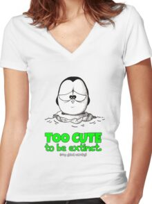 Too Cute To Be Extinct v.2 Women's Fitted V-Neck T-Shirt