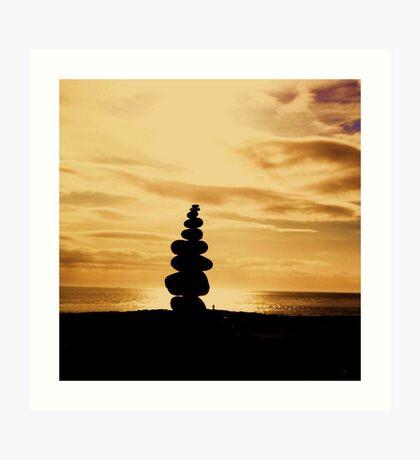 Stacked Stones, Sand & Sun Art Print