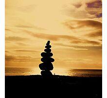 Stacked Stones, Sand & Sun Photographic Print