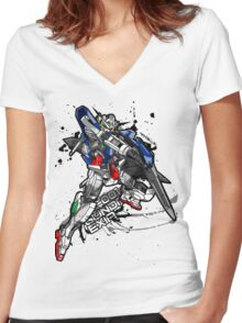 GN-001 Gundam Exia Women's Fitted V-Neck T-Shirt