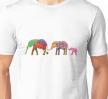 3 Colorful Elephants Holding Tails - Pop Art Unisex T-Shirt