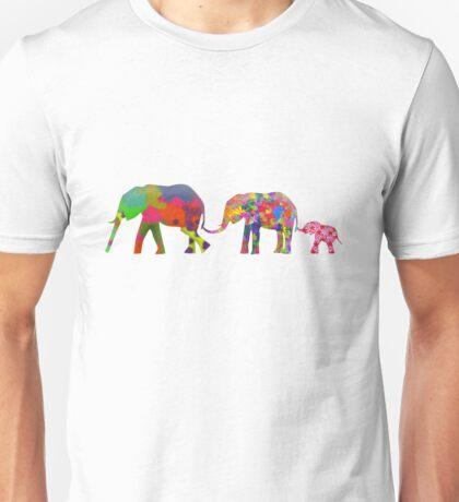 3 Colorful Elephants Holding Tails - Pop Art Unisex T-Shirt