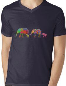 3 Colorful Elephants Holding Tails - Pop Art T-Shirt