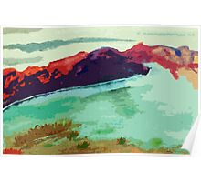 The Dam is drying up...watercolor Poster