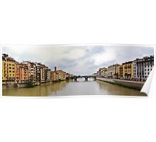 Arno River in Florence Italy Panorama Poster