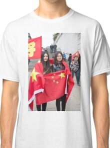 Two ladies wrapped in a Chinese flag Classic T-Shirt