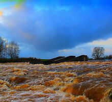 Gales,Rain,Hail, December Spate, River Tees,Broken Scar Dam by Ian Alex Blease