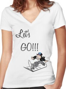 Let's Go!!! Women's Fitted V-Neck T-Shirt