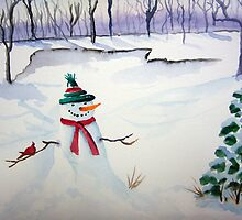 Snowman and Cardinal by Debbie  Adams