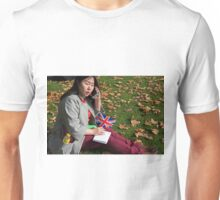 Chinese journalist on her phone Unisex T-Shirt