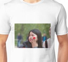 Chinese lady with a flag sticker on her face in the Mall Unisex T-Shirt
