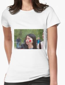 Chinese lady with a flag sticker on her face in the Mall Womens Fitted T-Shirt