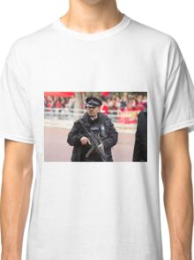 Armed Policeman on duty in the Mall Classic T-Shirt