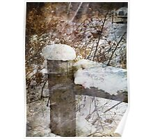 Snowy Fencepost Poster