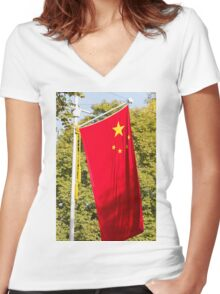 Chinese Flag in the Mall during the state visit of president Xi Jinxing Women's Fitted V-Neck T-Shirt
