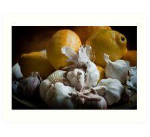 Lemons and Garlic Still Life Art Print