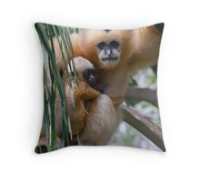 White Cheeked Gibbon and Infant Throw Pillow