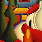 Dreamscape with cottage and ritual figure by Alan Kenny