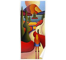 Dreamscape with cottage and ritual figure Poster