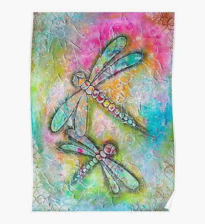Mixed Media Dragonfly Poster