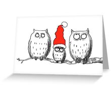 Small Christmas owl group Greeting Card