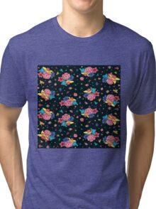 Dark Floral Pattern Tri-blend T-Shirt