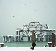 West Pier Brighton, Winter Walk in the Snow by Nicole Carman Photography