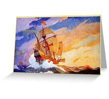 Ships of Christopher Columbus at sea Vintage Greeting Card