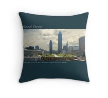 View of Cleveland from atop the Great Lakes Science Center Wind Turbine Throw Pillow