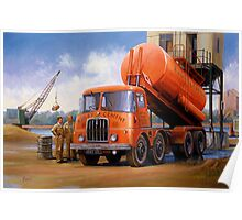 Rugby Cement Thornycroft tanker. Poster