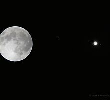 Full Moon, Jupiter and it's Moons by David Denny