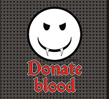 Donate Blood - Vampire Smiley Version 3 by Alejandro Cuadra