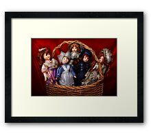 Toy - Dolls - A basket of Victorian dolls  Framed Print