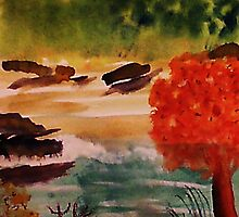 Catfishing pond #2, watercolor by Anna  Lewis